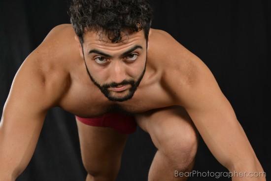 Joung musclebear studio shooting - strong male  photos